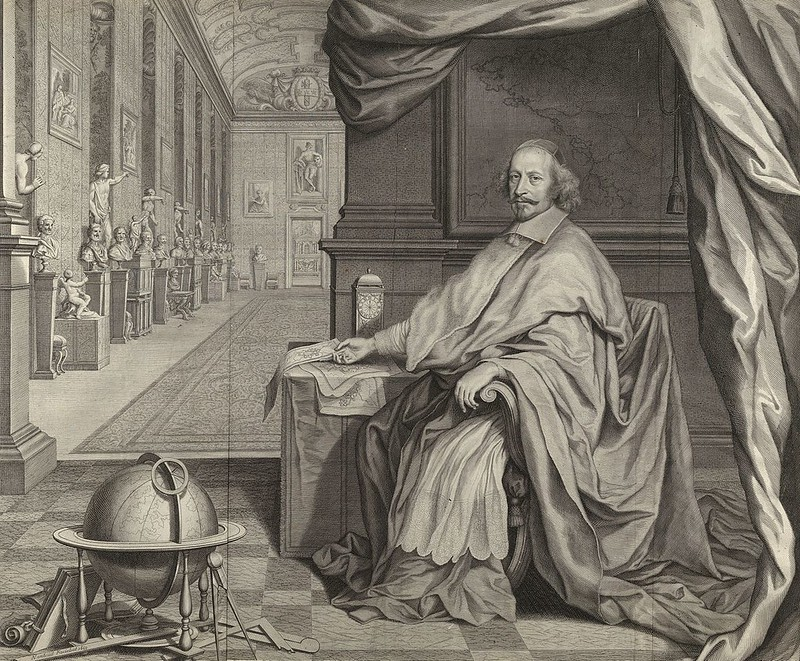 Cardinal Jules Mazarin Seated Within the Gallery of his Palace, by Robert Nanteuil
