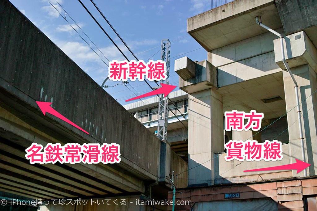 名鉄と新幹線と南方貨物線が複雑に絡み合う!