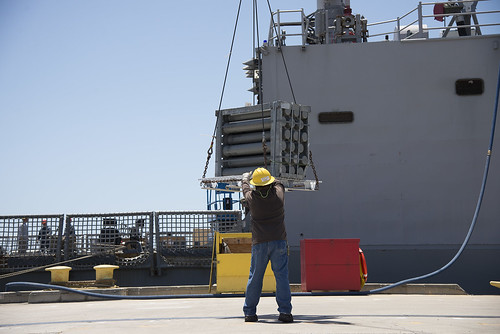 USS GARY (FFG 51) offloading the last ammunition at Naval Weapons Station Seal Beach.