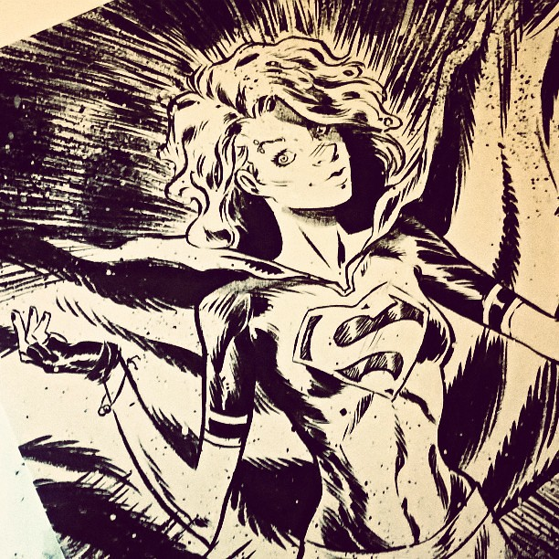 #Supergirl comission | #dccomics #superman #comics #canson #brushpen #pentel