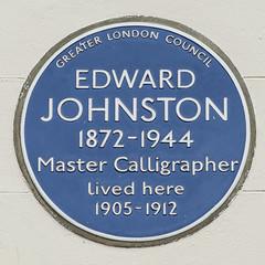 Photo of Edward Johnston blue plaque