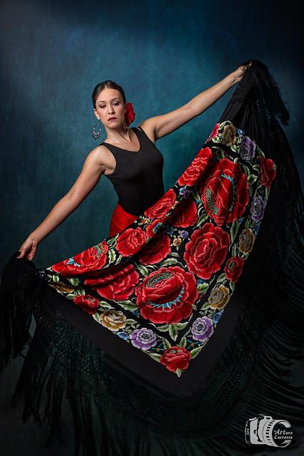 Girl whit Manila shawl 4 - Mujer con mantón de Manila 4