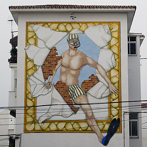 Murales Artísticos de Estepona (Spain): Angel, El Buceador (Angel, the Diver) by Eric Aman