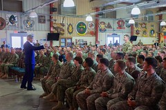 U.S. Secretary of State John Kerry fields an audience question after addressing a cross-service corps of U.S. service members stationed at Camp Lemonnier - the only U.S. military base in Africa - during a visit to Djibouti, Djibouti, on May 6, 2015. [State Department photo/ Public Domain]