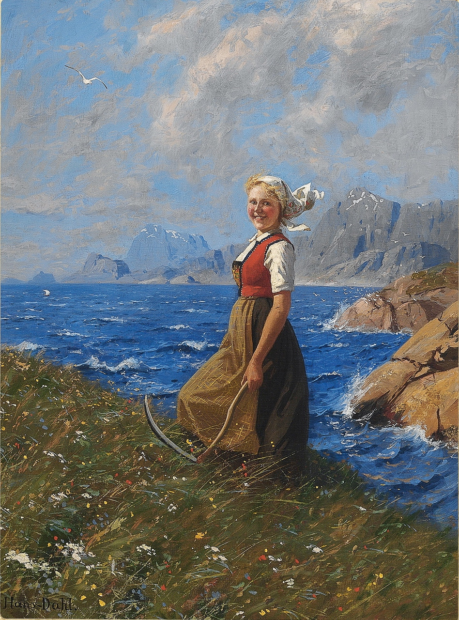 Girl with Sickle by Hans Dahl