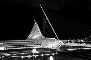 Milwaukee Art Museum Angle @ Night Monocrome
