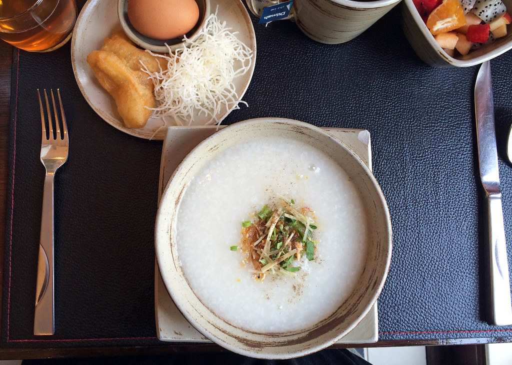 Congee with egg and Chinese doughnut