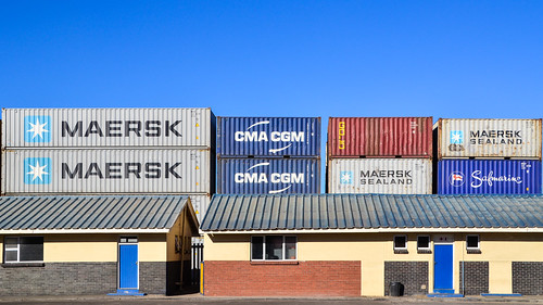Maersk and CMA-CGM containers, port of Walvis Bay