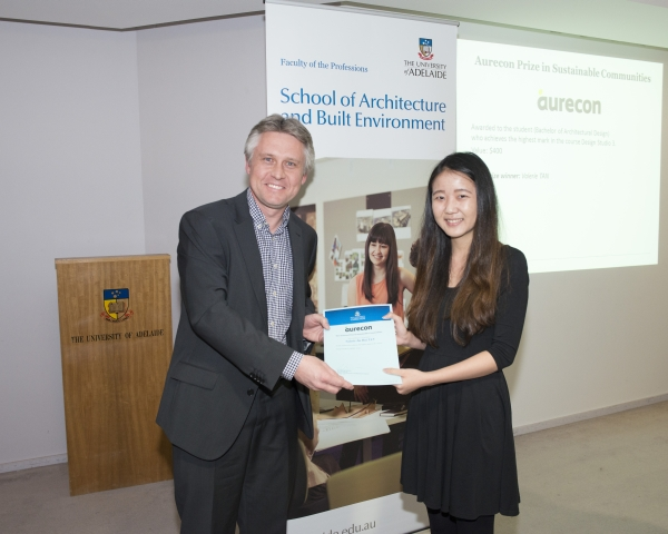 2014 Winner: 2014 Winner: Valeria Tan - Presented by Marcus Howard (Senior Town Planner) on behalf of Aurecon