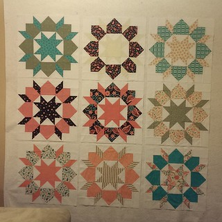 """All 9 blocks together...now to play around with layout & sash but that''ll have to wait. I think the next time I make one I'll buy half yards instead. I ready preferred the way the blocks that used 6.5"""" squares for the corner looked & had less seam bulk."""