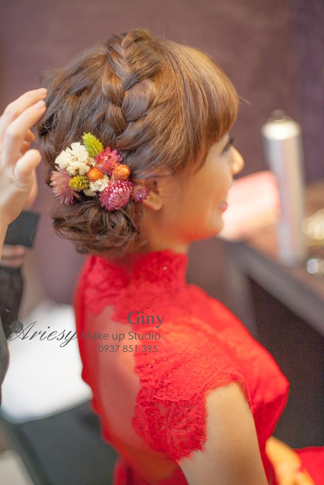 Giny,愛瑞思造型團隊,台中新娘秘書,新娘秘書,清透妝感,短髮造型,歐美手工飾品,旗袍造型,編髮,鮮花造型