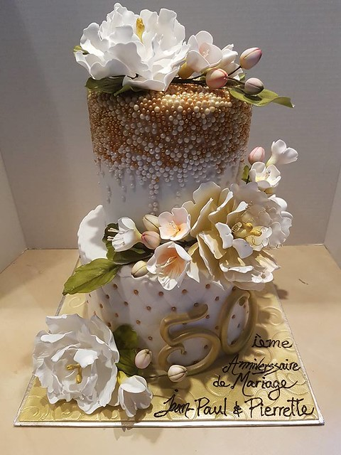 White and Gold Wedding Cake by Valerie Geoffrion