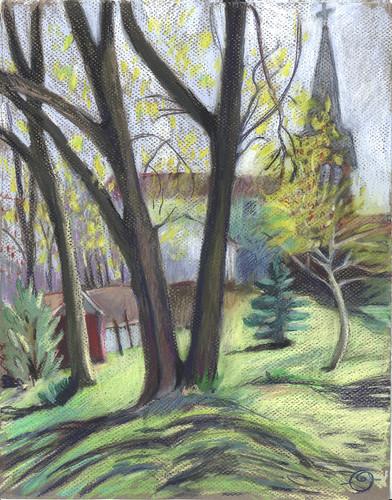 spring shadows steeple urbanlandscape cedarfallsiowa cansonmiteintespaper neocoloriiwatersolublewaxpastels marciamilnerbrage