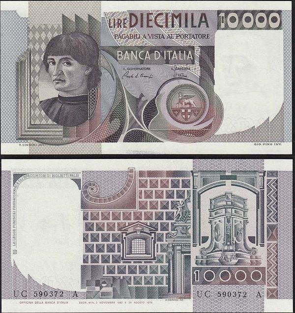 10 000 Lír Taliansko 1980-84 Pick 106b