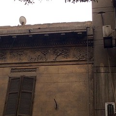 Trees and birds on the facade of an old Zamalek building  #Cairo #Egypt #details