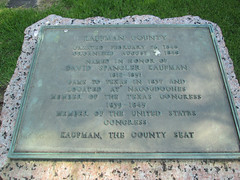 Photo of David Spangler Kaufman and Kaufman County black plaque