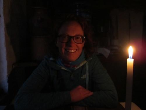 Lac Titicaca: restaurant sans électricité à l'Isla del Sol. Dîner au chandelle.