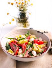 Tomato, pepper, rocket and feta salad