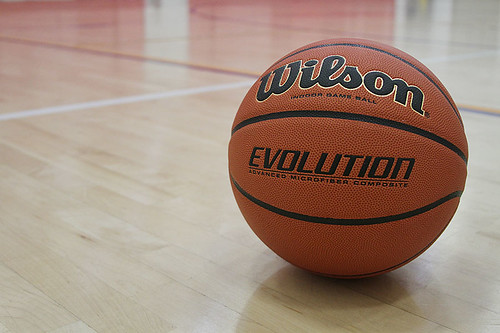 Basketball on indoor court