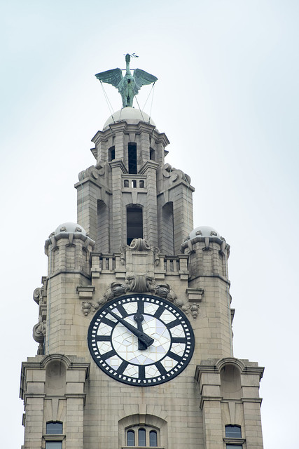 Liver Building clock tower in Liverpool
