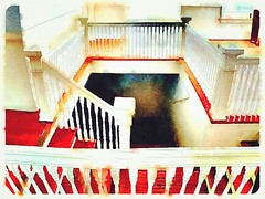 Lovely stairwell at the top of the historic Woolworth building in beautiful old #Bisbee Three photos stitched with #autostitch app, then processed with #waterlogue app on iPhone 5s #architecture #craftsman #watercolor #design #dreamy #woolworth