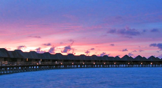 Maldives Vilureef water villa evening2