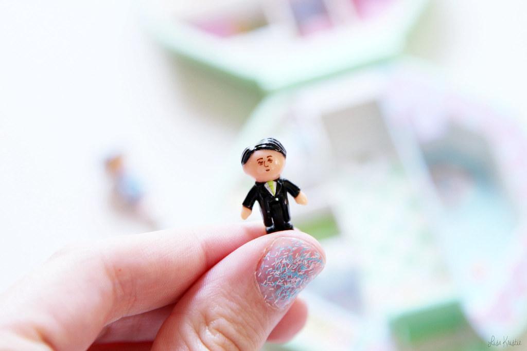 Polly Pocket figure figurine character black hair principal school teacher costume formal kim jong-un north korea korean leader dictator lookalike funny meme 1990 90's vintage original