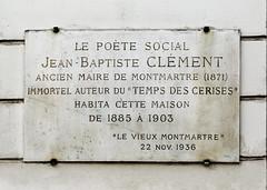 Photo of Jean-Baptiste Clément white plaque