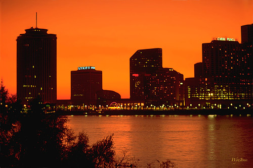 sunset skyline louisiana neworleans mississippiriver kodachrome np willows prekatrina postivefilm wyojones