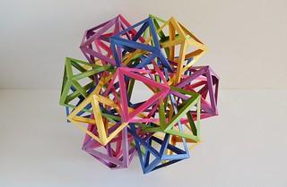 Five Interlocking Irregular Hyperboloidal Dodecaugmanted Cuboctahedra v.2 (Byriah Loper)
