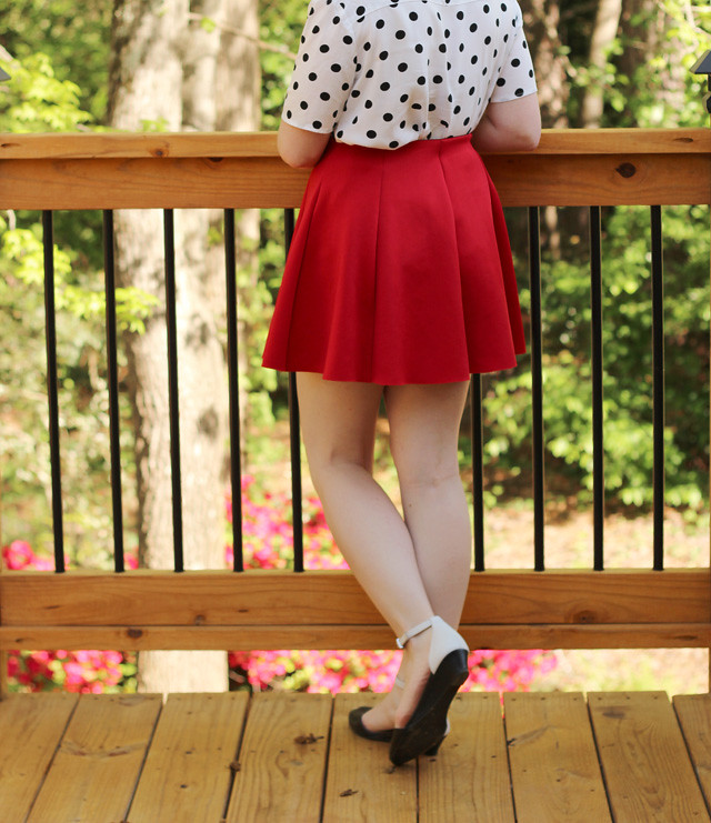 Red Skater Skirt and Polka Dot Top
