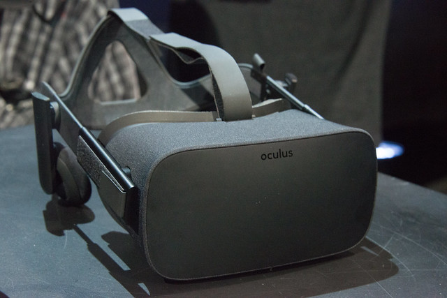 Oculus Rift consumer version (front view) at Step into the Rift