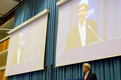 U.S. Secretary of State John Kerry delivers his remarks at the Montreal Protocol High-Level Segment Ministers' speaking series on July 22, 2016, at the Vienna International Center in Vienna, Austria, amid negotiations to amend the Montreal Protocol climate change agreement. [State Department Photo/ Public Domain]