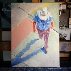 "Started a new painting ""Cowboy in a Crosswalk"" It was inevitable that I delve into this subject, being a new resident of Santa Fe #painting #impressionism #figurativeart #santafe #cowboy #wip"
