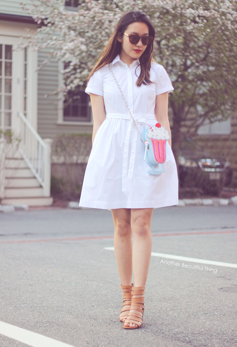 White LOFT shirt dress and ice cream sundae bag