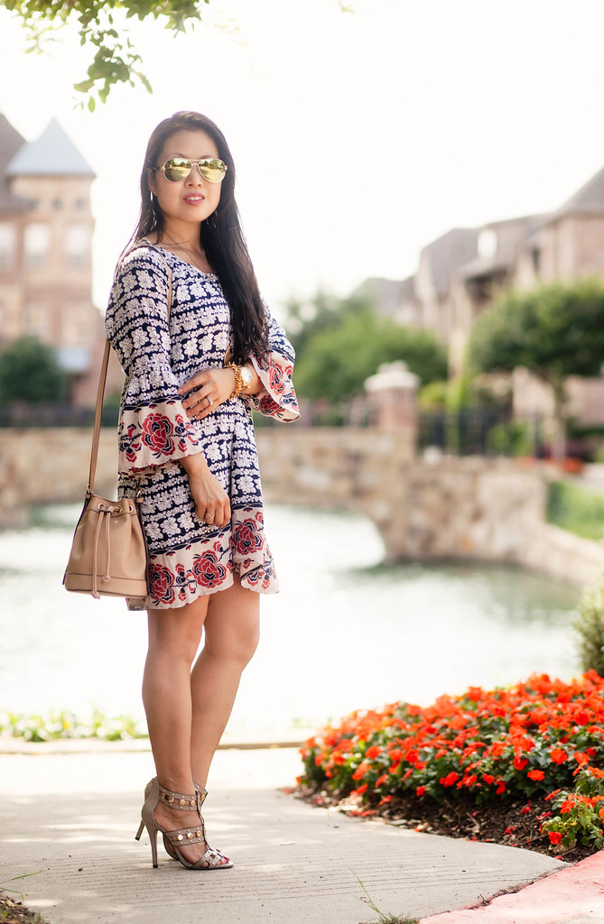 cute & little blog | petite fashion | chicwish boho dress, mini bucket bag, pendant necklace, studded strappy sandals, green mirrored aviators | spring summer outfit