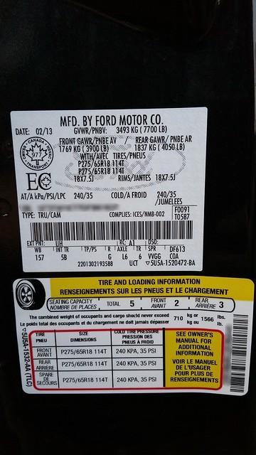 2013 F-150 - Driver door sticker