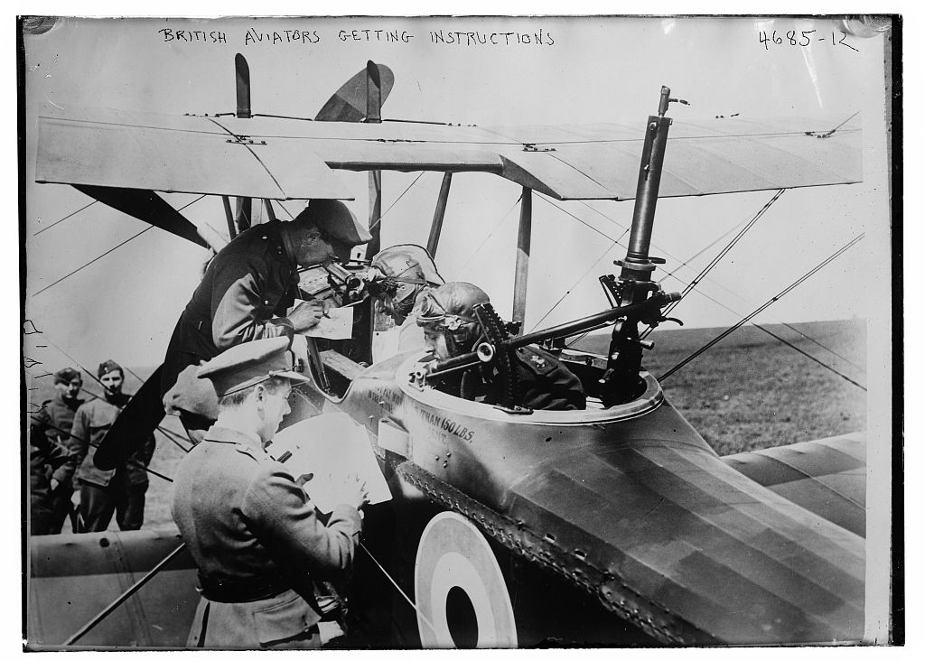 British aviators getting instructions (LOC)
