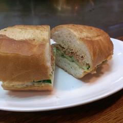 meat(0.0), breakfast sandwich(0.0), sliced bread(0.0), sandwich(1.0), meal(1.0), lunch(1.0), breakfast(1.0), ham and cheese sandwich(1.0), baked goods(1.0), ciabatta(1.0), food(1.0), dish(1.0), cuisine(1.0),