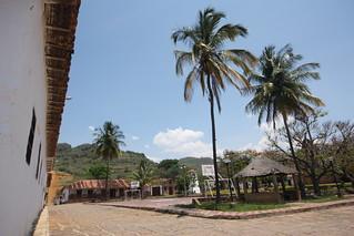 The main plaza dominating basketball court, Guane, near San Gil