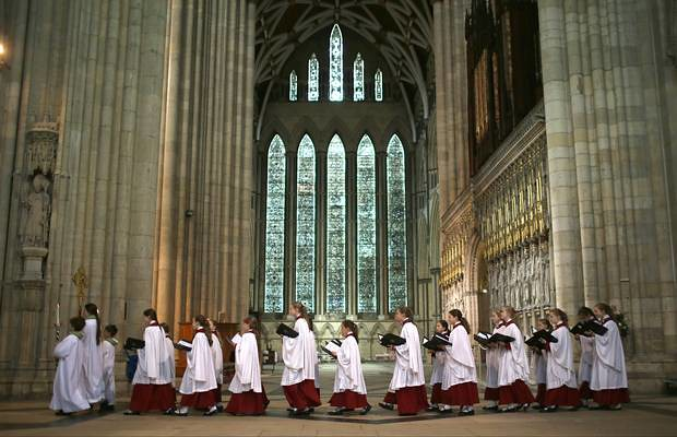 The choir process through York Minster during a Eucharist Service attended by the Church of England Synod (Photo by Christopher Furlong/Getty Images)