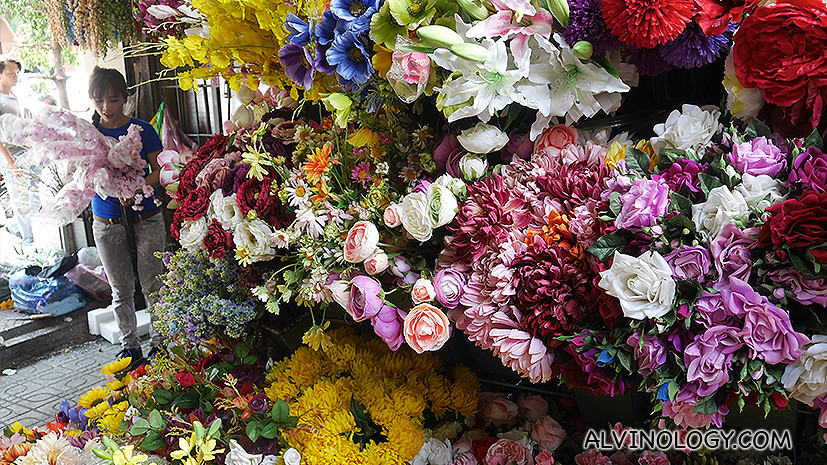 Artificial and real flowers