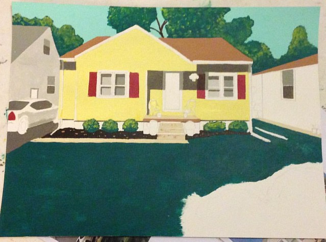 Progress made on a commission work of a house in the West Bluff neighborhood in Peoria, IL #painting #house #home #workinprogress #architecture #architecturelovers #architectureporn #peoria #peoriail #westbluff #commission #artwork #art #artsy #artist #ar