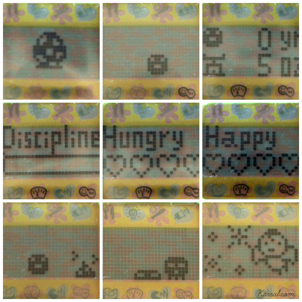 Tamagotchi v1 p1 screen egg baby babytchi stats weight age discipline hungry hunger happy happiness poop death skull angel angelgotchi vintage 90's toy