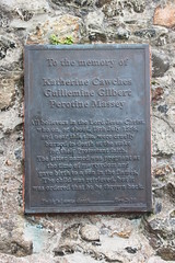 Photo of Katherine Cawches, Guillemine Gilbert, and Perotine Massey bronze plaque