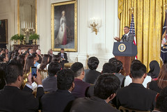 President Obama speaks with participants in the Young Southeast Asian Leaders Initiative (YSEALI) at the White House in Washington, D.C., on June 1, 2015. [State Department photo/ Public Domain]