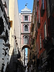 San Gregorio Armeno Street and bell tower (18th century) in Naples
