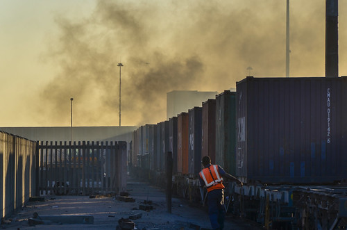Containers on train in the port of Walvis Bay