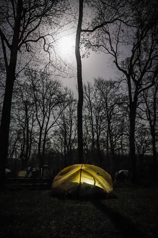 Almost a full moon at Onuma Lake campground, Hokkaido, Japan