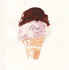 hand(0.0), sketch(0.0), head(0.0), organ(0.0), ice cream(1.0), brown(1.0), food(1.0), drawing(1.0), ice cream cone(1.0), illustration(1.0), pink(1.0),